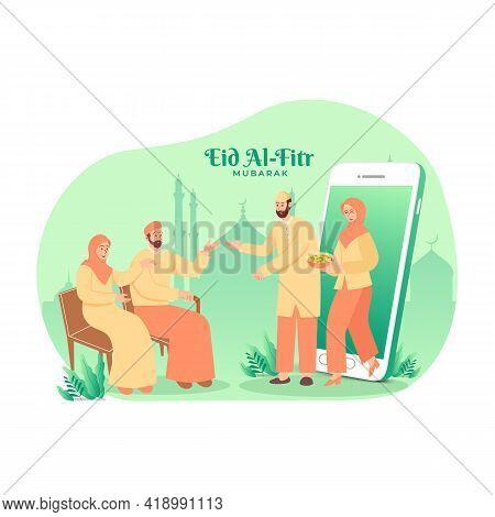 Happy Eid Al Fitr Greeting Card. Muslim Couple Blessing Eid Mubarak To Parents Through Smart Phone S