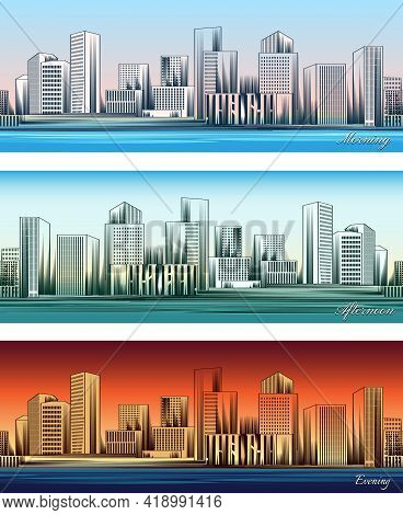 Set Of City Skylines In Morning, Afternoon And Evening Backgrounds Seamless. Twilight And Business D
