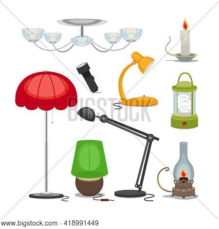 Lamps And Lights. Vector Chandelier, Flashlight, Candle And Oil Lamp, Rechargeable Lamp, Night Light