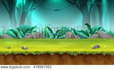 Vector Cartoon Style Seamless Mystery Rain Forest Illustration For Game Design, App, Websites.