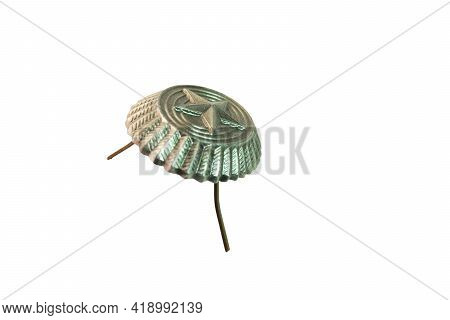 Cockade From Cap Of Ordinary Soldier Of Armed Forces, With The Convex Image Of A Star. Metal, With G