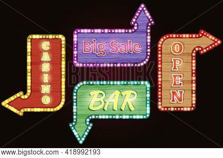 Open, Big Sale, Casino, Bar Retro Neon Sign Set. Design Vintage, Advertising Electric, Illuminated F