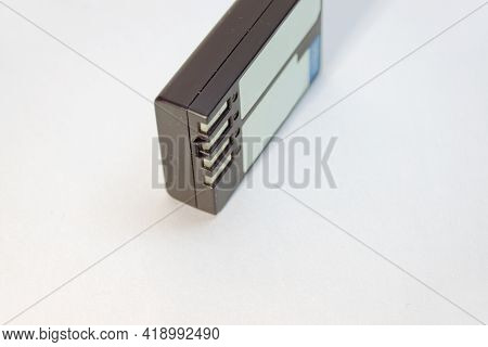 Lithium Battery For Photographic Equipment, Four-pin Black Small Power Cell. With Clipping Path