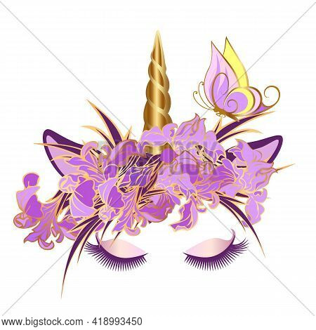 Vector Unicorn Face With Closed Eyes And Wreath Of Lilac Flowers. Golden Horn.