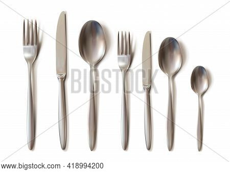 3d Realistic Cutlery Set With Table Knife, Spoon, Fork, Tea Spoon And Fish Spoon.