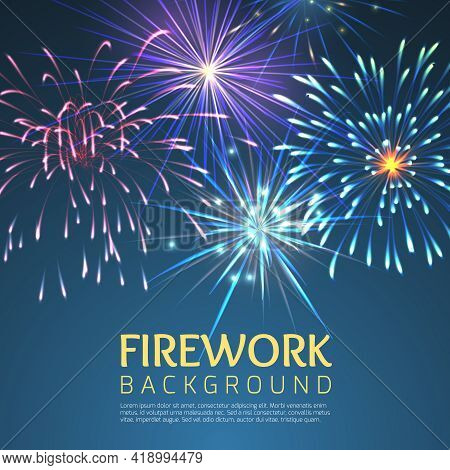 Festive Firework Abstract Vector Background. Holiday Celebration, Festive And Explode, Festival And