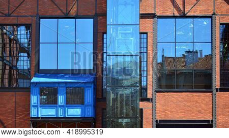 A Fragment Of The Steel And Glass Metal Facade Of Office Building. Detail Architecture Steel And Gla