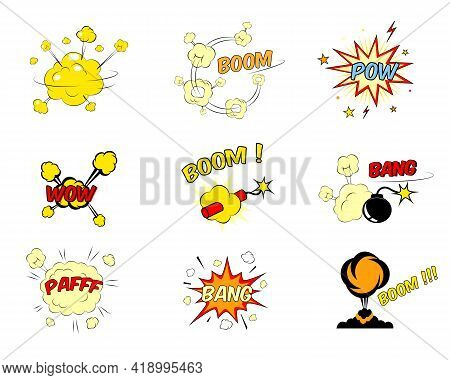 Set Of Colorful Bright Red And Yellow Comic Cartoon Text Explosions Depicting A Boom  Pow  Wow  Dyna