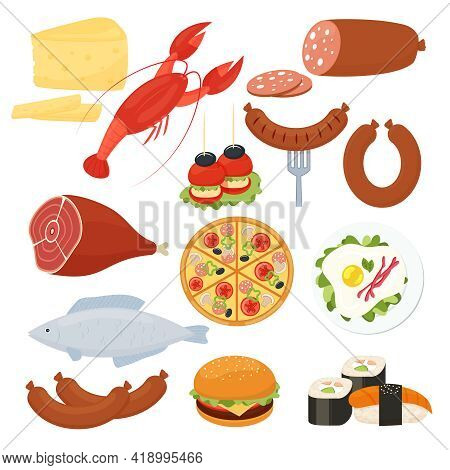 Set Of Traditional Vector Food Icons For A Menu With A Lobster  Salami  Pizza  Cheeseburger  Roast M