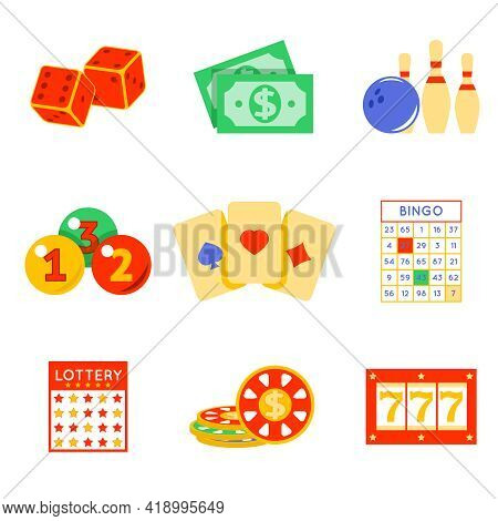 Lottery Flat Icon Set. Risk And Card, Luck And Game, Vector Illustration