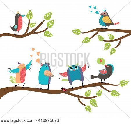 Set Of Cute Colorful Cartoon Birds Perched On Branches With A Blackbird  Lovebird  Owl  Thrush  Robi