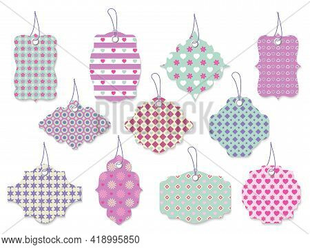Large Set Of Eleven Cute Pretty Vector Tags And Labels With Flowers And Hearts In Ornate Shapes And