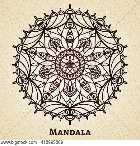 Yoga Meditation Mandala Ornament. Design Sacred Symbol, Buddhism And Flower Decoration, Vector Illus