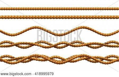 3d Realistic Vector Rope Seamless Patterns, Twisted And Wavy Cords.