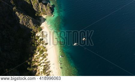 Aerial Drone Tropical Island And Sand Beach With Palm Trees. Malajon Island, Philippines, Palawan. T