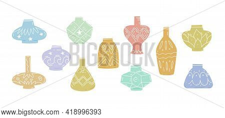 Ceramics Vases Set. Pottery Vases Collection In Antique And Modern Style. Hand Drawn Vector Illustra