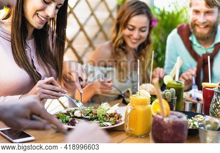 Happy Friends Lunching With Healthy Food In Bar Coffee Brunch - Young People Having Fun Eating Meal