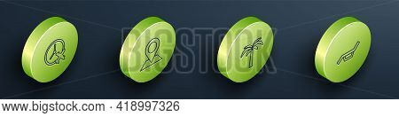 Set Isometric Line Clock With Airplane, Location, Tropical Palm Tree And Sunbed And Umbrella Icon. V