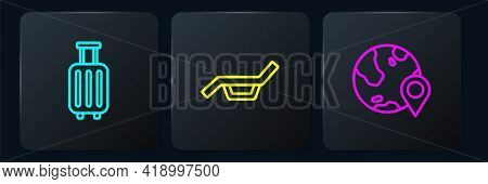 Set Line Suitcase, Location On The Globe And Sunbed And Umbrella. Black Square Button. Vector