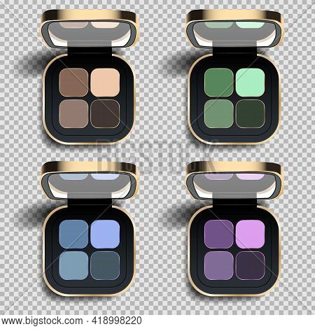 Eyeshadow Set, Online Shopping Concept Realistic Vector Illustration, Top View. Fall Trendy Colors C