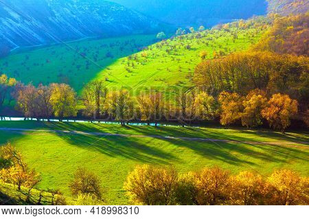 Nature Reserve Scenery . Panorama Of Riverside Valley . Natural Parkland In The Spring