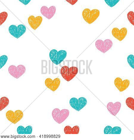 Seamless Pattern With Hearts Drawn With Colored Pencils. Colorful Background For Fabrics, Wallpaper,