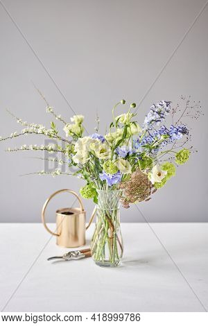 Finished Flower Arrangement In A Vase For Home. Flowers Bunch, Set For Interior. Fresh Cut Flowers F