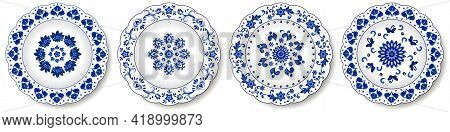 Porcelain Plates, Blue On White Pattern In Oriental Asian Style. Abstract Floral Ornament With Chine