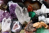 mineral collection as very nice natural gems background poster