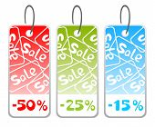 Three ornate price tags isolated on a white background. poster