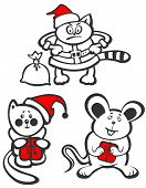 Cartoon Christmas animals isolated on a white background. Christmas illustration. poster