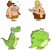 Illustration Of Angry Prehistoric Cartoon Characters Collection poster