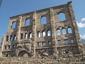 Ruins of the Roman Theatre in Aoste Italy poster