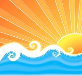 Vector illustration of a swirly retro summer background with beautiful sun rays curly mesh water and wavy design in the middle. poster