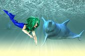Abstract illustration of a mermaid with a dolphins underwater scene. poster