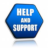 help and support - 3d blue hexagon button with text poster