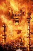 Screaming demonic face materialising amid the fumes above a petrochemical plant denoting environmental nightmare. poster