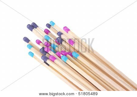 Colorful Match Sticks On White Background