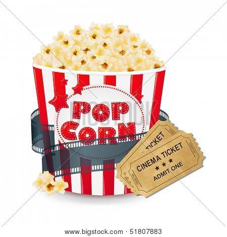 Popcorn In Cardboard Box With Ticket Cinema