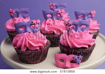 Pink And Purple Masquerade Masks Decorated Party Cupcakes With Pink Frosting For Teenage, Birthday,
