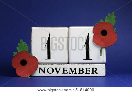 Save The Date calendar for November 11, Remembrance Red Poppy Day.