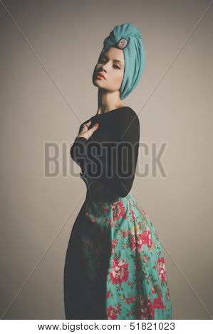 Stylish photo of refined lady in flower skirt poster