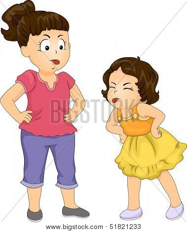 Illustration of a Big Sister and Her Younger Sister Sticking Their Tongues Out While Arguing