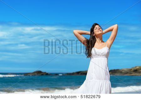 Woman Enjoying The Sun On Summer