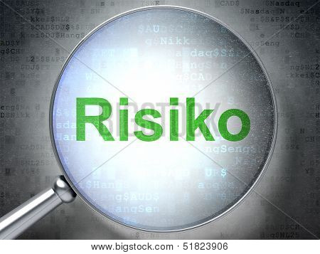 Business concept: Risiko (german) with optical glass on digital b