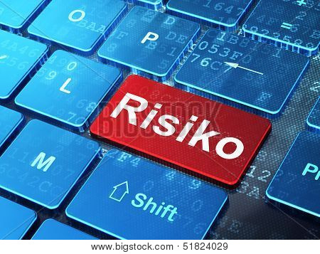 Finance concept: Risiko(german) on computer keyboard background