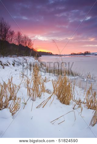 winter sunrise at yorkshire reservoir