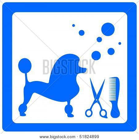 grooming symbol with poodle, scissors, comb and shampoo bubbles poster