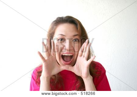 Woman Shouting & Excited