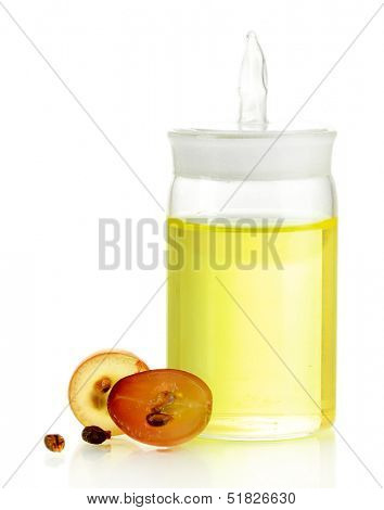 Ripe sliced grape and grapeseed oil, isolated on white poster